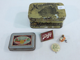 2 Old Tins; Mother's Day Pinback; Listerine Corkscrew; Schlitz Pin