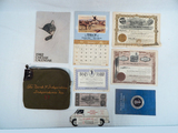 Bank Of Independence Money Bag; 1982 Chessie Calendar; Gold Mine Stock Etc.