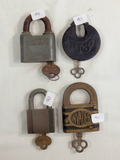4 Misc. Locks W/ Keys - Slay Maker, U. S. Samson, Elgin & Eagle Invanek
