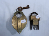 2 Misc. Locks - 1 UPRR Lock W/ Key, Corbin Lock W/ Key 1922
