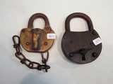 2 Misc. Locks - 1 Adlake - Us Y Of O; Large Iron Lock W/ Key