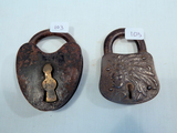 2 Misc. Locks - Indian Chief Iron Lock; Heart-Shaped Lock