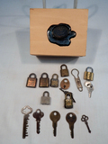 Wooden Box W/ Misc. Small Locks & Keys, Including Eureka; 5 Old Lock Keys