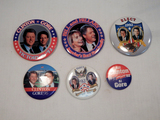 Political Buttons - 6 Clinton