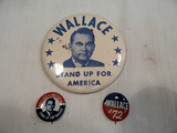 Political Buttons - 3 George Wallace