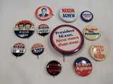 Political Buttons - 12 Nixon Era