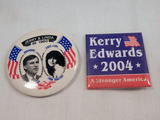 Political Buttons - Kerry Edwards 2004, Jerry Brown Linda Ronstadt