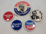 Political Buttons - 5 Ford & Dole