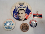 Political Buttons - 3 LBJ, Shirley Chisholm, Edmond Muskie