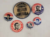 Political Buttons - 6 Kennedy, 1 Is A Flasher
