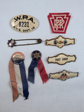 Lot Including Freedom Train Pin & Ribbon, 3 Ribbon Holders Etc.