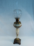 Banquet Lamp - Hand Painted W/ Cherubs & Etched Glass Shade