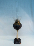 Cast Iron Brass & Marble Banquet Lamp w/ Etched Glass Shade