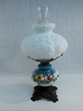 Small Oil Lamp W/ Milk Glass Shade