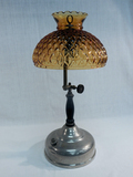 Oil Lamp W/ Amber Shade
