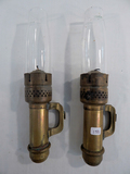 2 Train Car Brass Oil Lamps