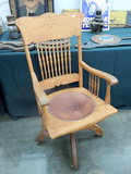Oak Office Chair - Bought At Kansas City Union Station Auction