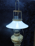 Hanging Oil Lamp W/ Brass Font & Milk Glass Shade