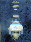Hanging Oil Lamp W/ Hand Painted Shade & Smoke Bell