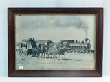 Print - AT&SF Steam Locomotive & Stage Coach Race - Glass Is Cracked