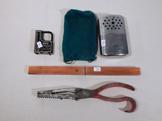 Floating Fish Knife; Vintage Hand Warmer; Zebco Scale; Fish Pliers