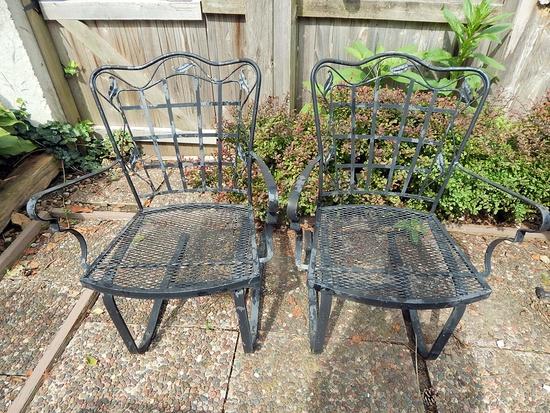 2 Vintage Woodard Spring-Back Patio Chairs