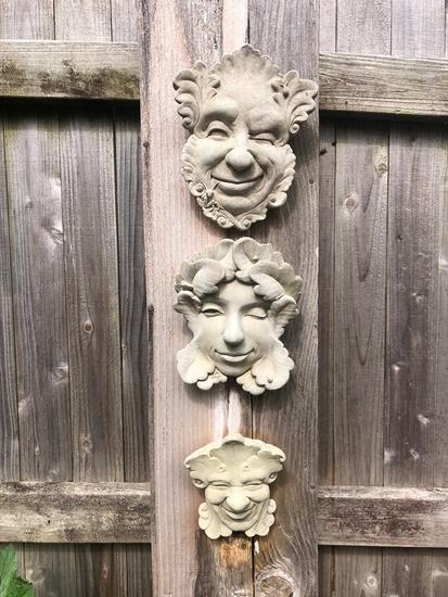 3 Vintage Cast Garden Faces