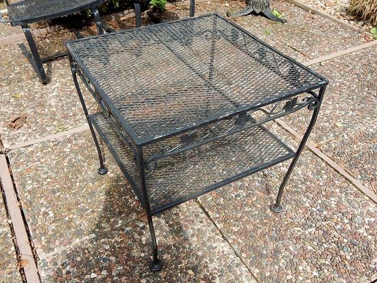 Vintage Woodard Square Heavy Wrought Iron Patio Table