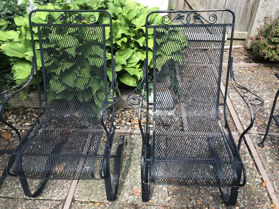 2 Vintage Woodard Spring-Back Iron Patio Chairs