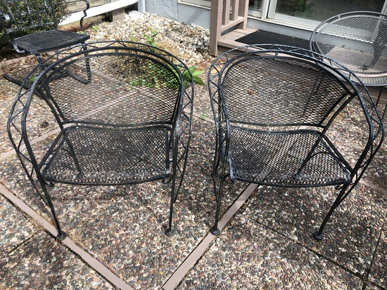 Pair Vintage Woodard Barrel Patio Chairs