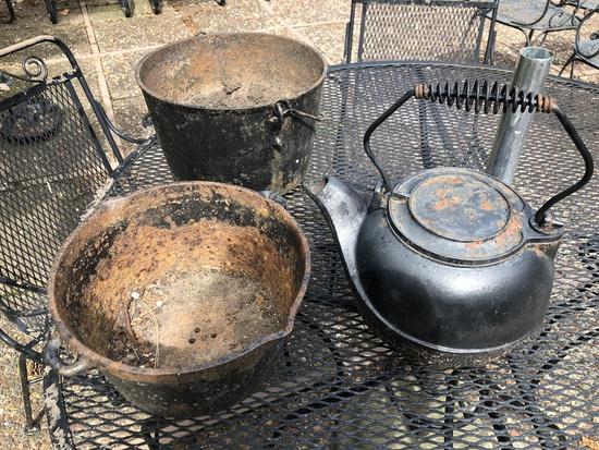 2 Antique Iron Pots; Iron Water Kettle - No Bottom