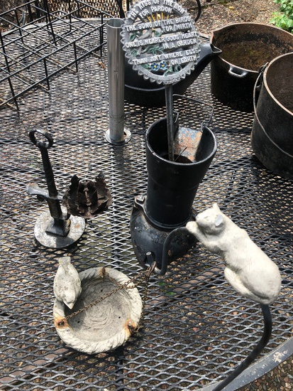 Vintage Wrought Iron Candlestick; Iron Water Pump Top; Garden Plaque; Small