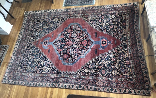 "Bidjar Persian Rug - 11'x7'8"", Abrash & Fading Color, Missing End"