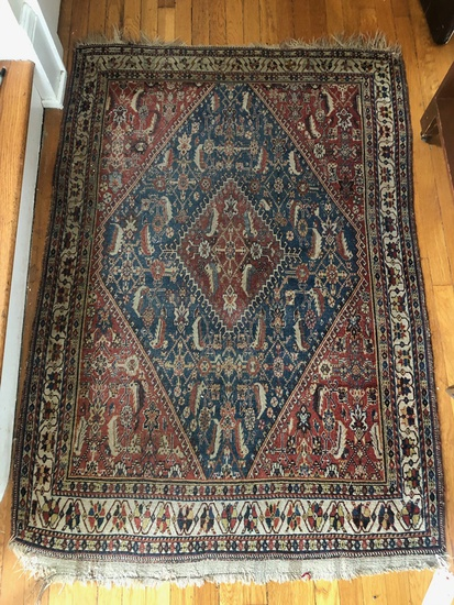 "Afshar Persian Rug - 5'3""x3'6"", Loss At One End"