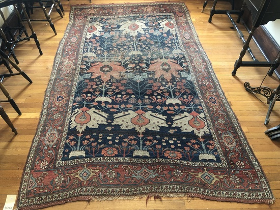 "Bidjar Persian Rug - 9'3""x5'6"" Very Worn, Ends Missing"