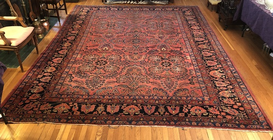 "Kashan Rug - 13'3""x10'3"", Low Pile & Overall Wear"