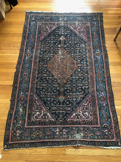 "Hamadan Persian Rug - 6'3""x4'1"", Overall Wear & Loss"