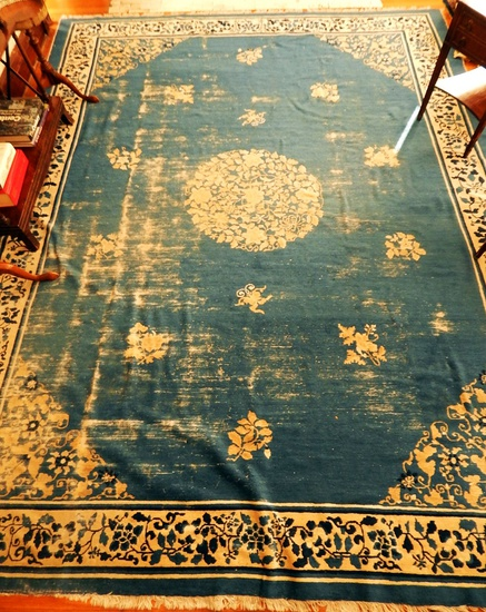 "Chinese Rug - 11'3""x8'11"", Light Blue Background, Much Overall Wear"