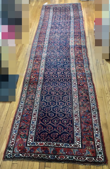 "Hamadan Persian Rug - 13'6""x3'7"", Some Wear"