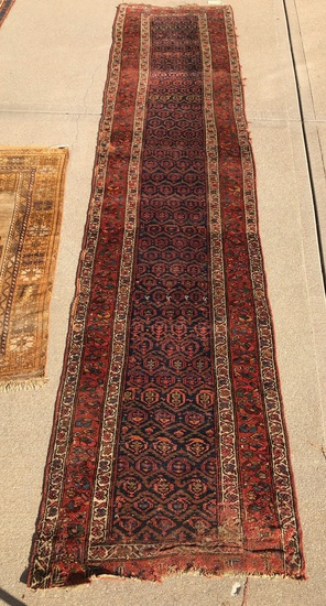 "Hamadan Persian Rug - 13'4""x3'5"", Paisley Design, Overall Wear, Missing End"