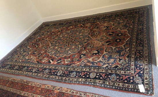 "Bidjar Persian Rug - 13'2""x8'7"", Overall Wear W/ Damage"