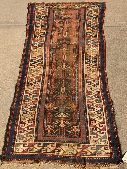 "Russian Kazak Rug - 9'5""x4'5"", Poor Condition, Overall Wear, Missing One En"