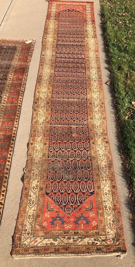 "Hamadan Rug - 1920s, 16'10""x3'3"", Was Used For Stairs, Overall Wear & Loss"