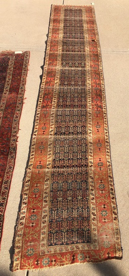 "Kurd Bidjar Rug - 17'8""x3'3"", Was Used For Stairs, Overall Wear, Missing En"