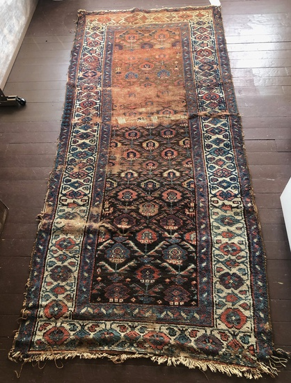 "Hamadan Rug - 7'9""x,3'4"", Poor Condition, Loss To Mid Portion"