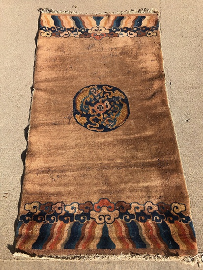 "Chinese Rug - 5'9""x3'1"", 1910, W/ Foo Dog Center Medallion, Overall Loss"