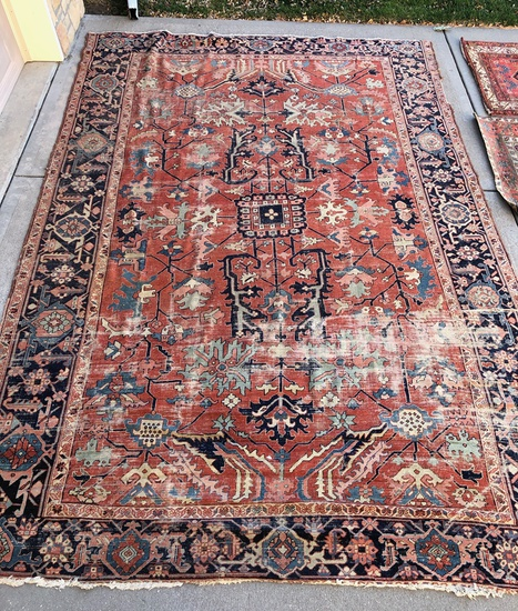 "Heriz Rug - 13'1""x9', Overall Loss To Pile & Border"