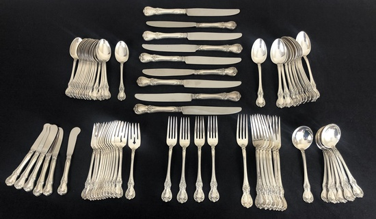 Large Set Towle Sterling Flatware - Old Master, 8 Dinner Forks & 4 Monogram
