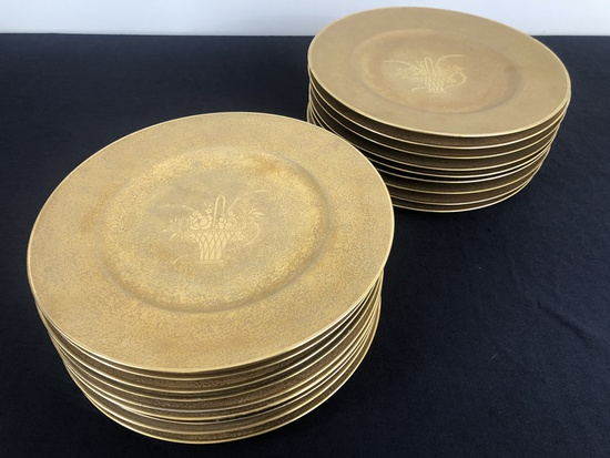 Set Of 18 Hutchenreuther Bavaria Service Plates - Overall Gold Encrusted W/