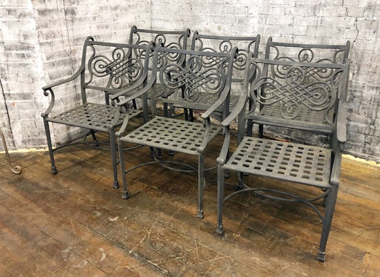 "6 Iron Chairs - 21""x23""x32½"", From Hall's Kansas City - LOCAL PICKUP ONLY"